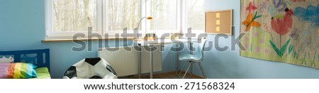 Horizontal view of modern designed kid's room - stock photo