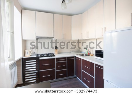 Horizontal view of modern furniture in kitchen