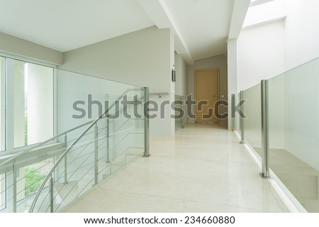 Horizontal view of spacious hall in luxury apartment