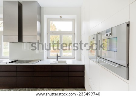 Horizontal view of window in the kitchen - stock photo