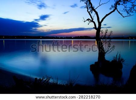 Horizontal vivid Moscow river horizon sunset background backdrop - stock photo