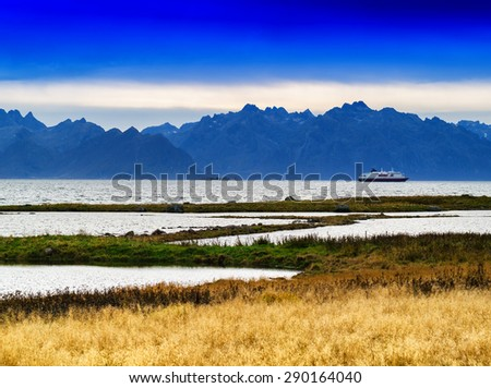 Horizontal vivid Norway fjord mountains ship background backdrop