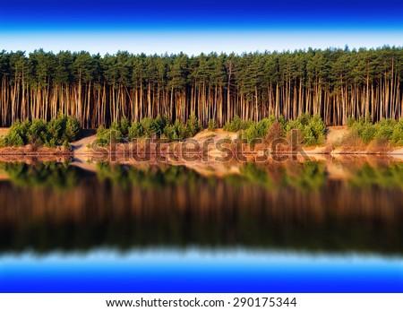 Horizontal vivid river forest reflections landscape background backdrop - stock photo