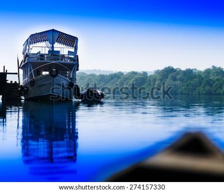 Horizontal vivid river ship boat landscape background backdrop - stock photo