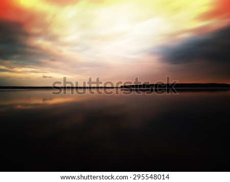 Horizontal vivid sunset on Karelian lake horizon landscape background backdrop painting - stock photo