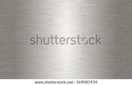Horizontally brushed metal aluminium or steel texture background, with center reflection highlight. - stock photo