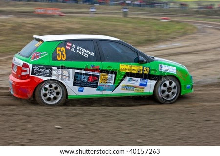 HORN, AUSTRIA - OCTOBER 31: Austrian driver Andi Patzl takes part in the 28th Waldviertel Rallye on October 31, 2009 in Horn, Austria. Raimund Baumschlager (not pictured) won the race.