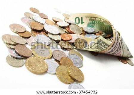 horn from dollar denominations with fine coins