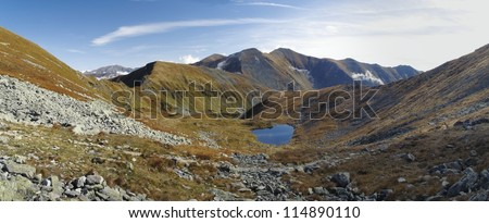 Horné Jamnicke pleso (Upper Jamnicke mounain lake) in West part of Tatra mountains in Slovakia from the Jamnice sedlo (saddle)