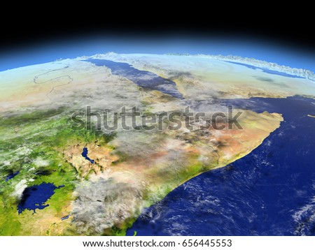 Horn of Africa from Earth's orbit in space. 3D illustration with detailed planet surface. Elements of this image furnished by NASA.
