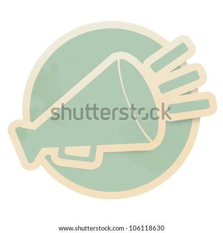 Horn retro sticker on white background - stock photo