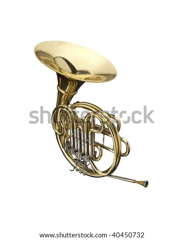 Horn wind instrument.  On a white background - stock photo