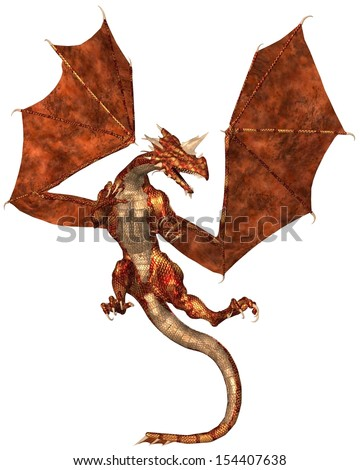 Horned dragon with red metallic scales, 3d digitally rendered illustration - stock photo