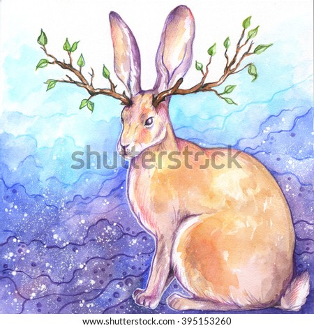 Horned rabbit colored poster. Bunny with horns of branches; watercolor fairy tale animal illustration - Jackalope - stock photo