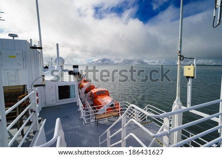 HORNSUND, SVALBARD, NORWAY - JULY 26, 2010:  Cruise ship in the Arctic, Hornsund, Norway