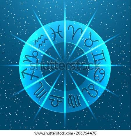 Horoscope circle with Zodiac signs - stock photo