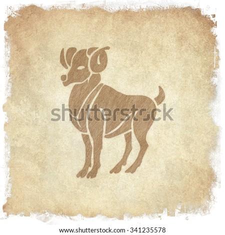 Horoscope zodiac sign Aries  on grunge background - stock photo