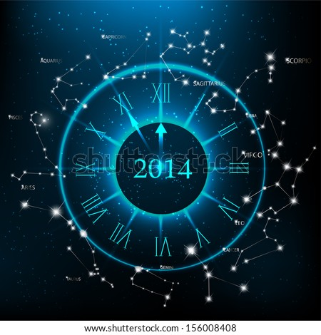 Horoscopes zodiac clock, New Year 2014 abstract background. Raster version.