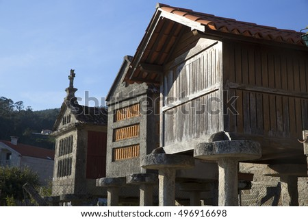 Horreo a traditional construction to keep harvested grain off mice in northern Spain Galicia and Asturias