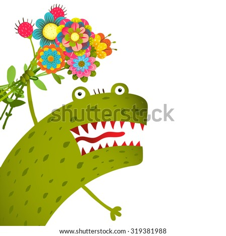 Horrible and Cute Funny Monster with Bunch of Flowers Congratulating. Colorful hand drawn illustration for kids of cute creature. Raster variant. - stock photo