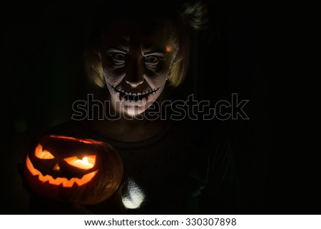 Horrible girl with scary mouth and eyes, halloween theme - stock photo