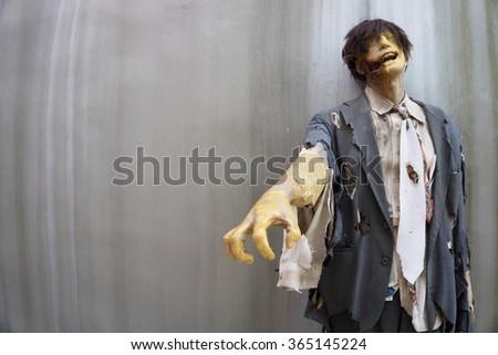 Horrible scary zombie business man. Horror. Halloween. - stock photo