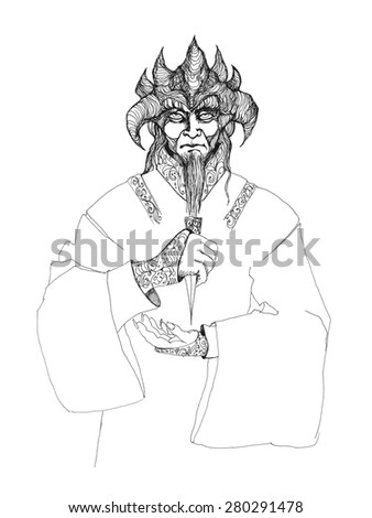 Horrible, terrible demon, monster, devil with horns and a dagger in his hands - stock photo