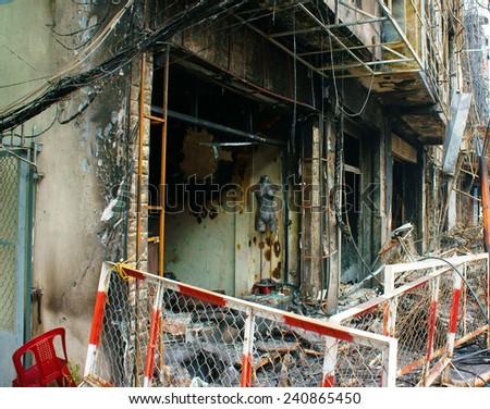 Horror fire at residence in Ho Chi Minh city, Vietnam, burned house, store damaged, melted in ash, only frame, an fearful acctident with serious loss