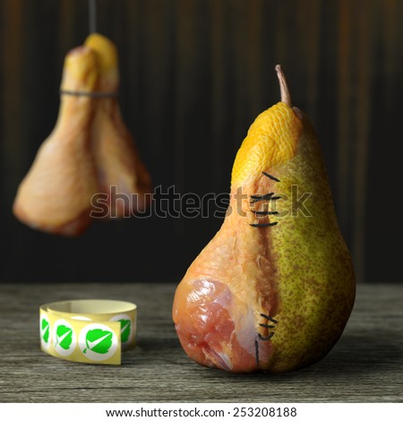 Horror food. Conceptual image for genetically modified produce, GMO. Chicken leg pear. - stock photo