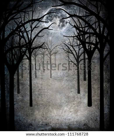 horror forest with full moon - stock photo