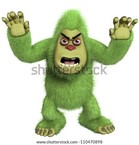 horror green yeti - stock photo