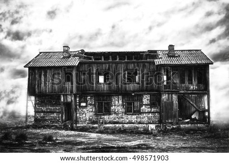 Horror lonely house: abandoned house with ghosts on edge of marsh. computer illustration (charcoal style)