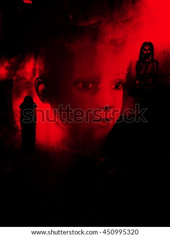Horror mannequin,scary background for book cover - stock photo