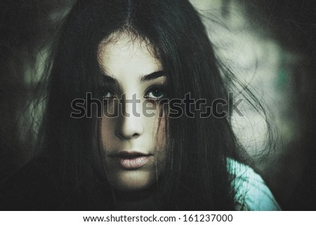 Horror Movie. Grungy female portrait for your design - stock photo