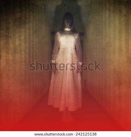 Horror movie scene with girl ghost in white dress - stock photo