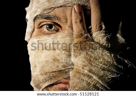 horror, mummy, mysterious, nightmare, face, death, zombie - stock photo