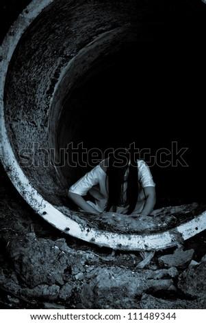 Horror scene a scary woman - stock photo