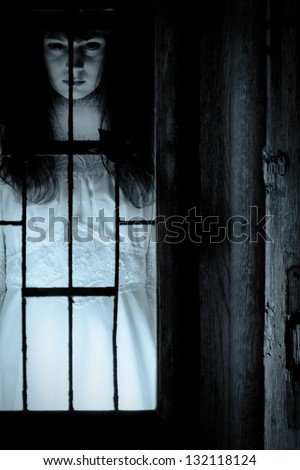 Horror scene of a scary woman's portrait - stock photo