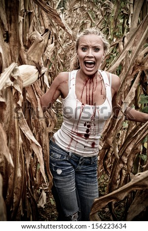 Horror Scene of a Terrified Woman Screaming in a Corn Field - stock photo