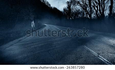 Horror scene of creepy road  - stock photo