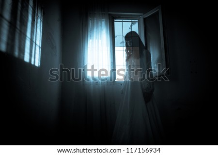 Horror scene of scary woman's ghost - stock photo