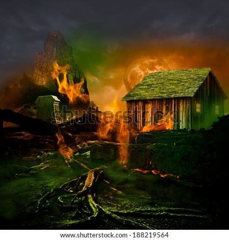 Horror Scene ~ Scary Mountain Graveyard With Tomb Stone, Haunted House, Orange Full Moon And Twisted Dead Tree Roots Burning In The Evil Green Fog Of A Dark Stormy Night - stock photo