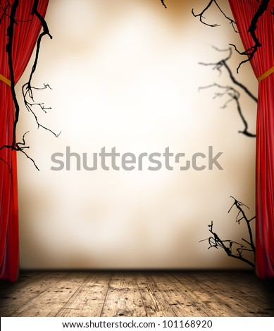 Horror stage with curtain - stock photo
