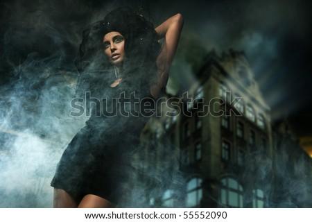 Horror style photo of a beautiful lady - stock photo