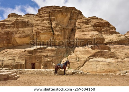 Horse against ancient tomb in world wonder Petra, Jordan - stock photo