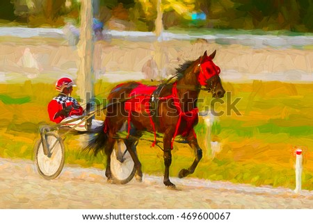 Horse and jockey in harness race - painterly