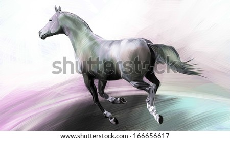 Horse at full gallop. Illustration.