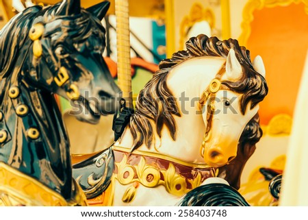 Horse carousel carnival - vintage effect style pictures - stock photo