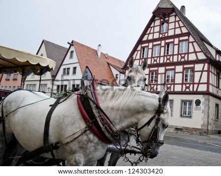 Horse Carriage and Frame Houses - stock photo