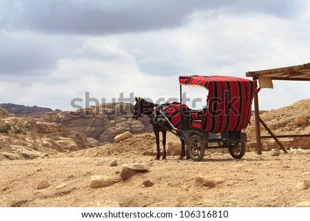 Horse carriage in Petra, Jordan - stock photo